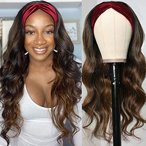 YEESHEDO Headband Wig Peluca negra con reflejos rubios Pelucas de diadema onduladas largas para mujeres, Peluca de color natural Rizado de pelo sintético brasileño con 3 diademas al azar 22 '