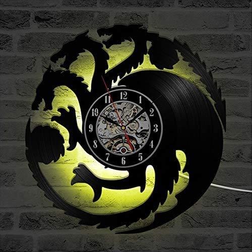 Smotly Vinilo Pared Reloj, Juego de la decoración de la Pared Tronos Tema de Grandes Relojes, Creativo del Color Hecho a Mano luz de la Noche de 7 Colores Decorativos Regalos,B
