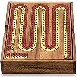 KHAPLO - Cribbage Board 2 Tracks - Pista de críbage para 2 jugadores - Juego de mesa - Juego de madera - Juego tradicional - Cribbage de madera de acacia - Estuche con los peones pero no las cartas