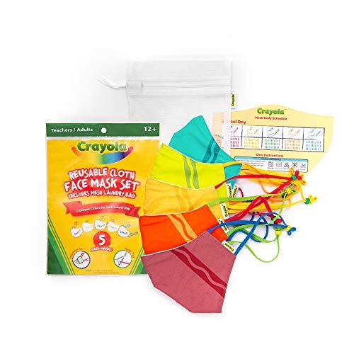 Crayola Teen/Adult Face Mask - 5 Reusable Cloth Face Mask Set, Crayola Stripe, Teacher Supplies