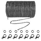 Jerbro Cadena de eslabones de acero inoxidable de 33 pies con 20 cierres de mosquetón y 30 anillos de salto para fabricación de joyas y manualidades, 1,5 mm (negro)