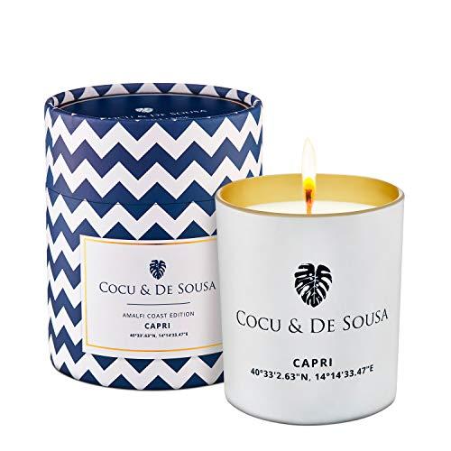 Cocu & De Sousa Luxury Candle, Capri - Up to 55 Hour Burn Time - and Natural Soy Wax- Essences: Sea Salt and Sage - Massage Candle