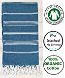 Nature Is Gift GOTS Certified Organic | Pre Washed Pestemal Peshtemal Towel | Super Soft | Absorbent | Stylish No Shrinkage Bath Towel | Beach Towel 100% Cotton | 37x70 Inches (Organic Ocean Depths)