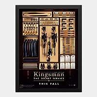 ハンギングペインティング - キングスマン Kingsmanのポスター 黒フォトフレーム、ファッション絵画、壁飾り、家族壁画装飾 サイズ:33x24cm(額縁を送る)