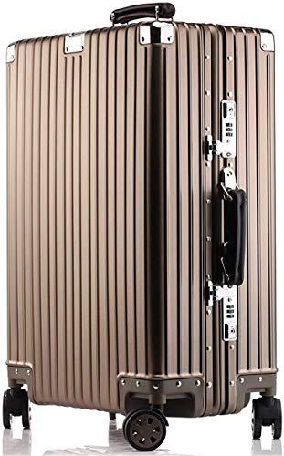 アルミニウムマグネシウム合金製スーツケース機内持ち込みスーツケーストラベルバッグキャリーバッグ静音キャスター自在車1801 ((1802モデル) シャンパンゴールド, M)