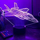 MiDo Military F-35 Lightning II (Clean) Fighter Jet 3D Optical Illusion Night Light Creative LED Table Lamp Lampara