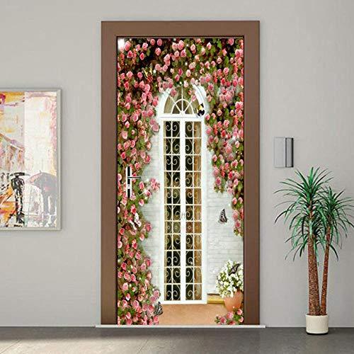 BXZGDJY 3D deurstickers voor binnendeuren rozet 77 x 200 cm 3D deursticker voor binnendeuren, deurstickers, zelfklevende deurposters, fotobehang, 3D-deur wandtattoo, deurbehang, zelfklevend deurposter - fotobehang T