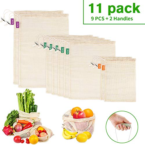 PEYOU Gemüsebeutel, 11er Set Obst- und Gemüsebeutel, Obstbeutel Wiederverwendbar, Natural Mesh Baumwolle, Zero-Waste, 100% Baumwolle Ist Biologisch Abbaubar (2 Kleine/5 Mittlere/2 große/2 Griffe)