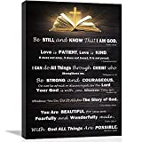 """Christian Wall Art Decor Inspirational Bible Verses Poster Scripture Wall Art for Living Room Bedroom Bathroom Kitchen Décor Framed Wall Art Black and White Rustic God Says Jesus Canvas Print Art Christian Gift for Office Women Room Decoration Brown, Love is Patient Love is Kind, 12""""x16"""""""