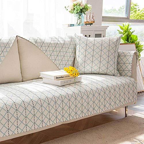 YSODFQL Cojín de sofá de algodón y lino nórdico minimalista cuatro estaciones cojín antideslizante universal perezoso hogar cuatro estaciones funda de sofá de tela elastica/C / 7