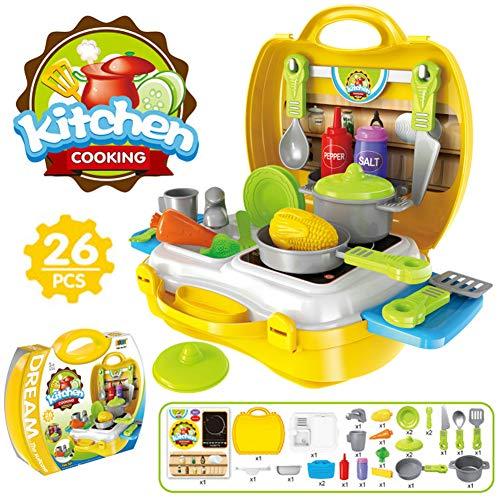Buyger 26 Piezas Juguete de Cocina Juego de rol de Cocina Frutas Verduras para Niños maletín