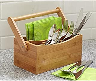 Woodluv 4 Compartments Drop-Down Handle Bamboo Kitchen Cutle