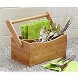 Cesto de 4compartimentos con mango desplegable para utensilios de cocina y cubiertos, soporte organizador de bambú, de WoodLuv