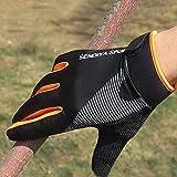 1 Pair of Bicycle Bike Gloves Full Finger Touch Screen Men and Women Mountain Bike Gloves Breathable Summer Gloves - Orange,M