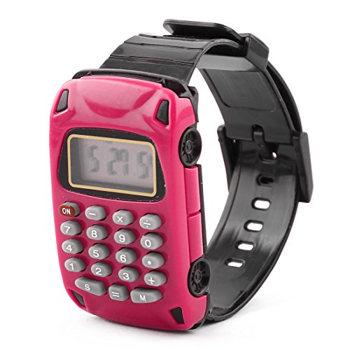 uxcell Home Detachable Wristband Watch Car Design 8 Digit Electronic Calculator Pink