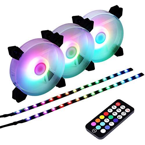Miwatt Ventola RGB LED da 120 mm, con Il Controller RF è Possibile Regolare la velocità della Ventola e Il Colore delle Strisce LED,LED Fans (3 Set di ventole)