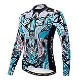 Weimostar Women's Cycling Jersey Long Sleeve Winter Thermal Fleece Mountain Road Bike Jerseys Cycle Jacket Tops MTB Biking Shirt Bicycle Clothing Retro Size L