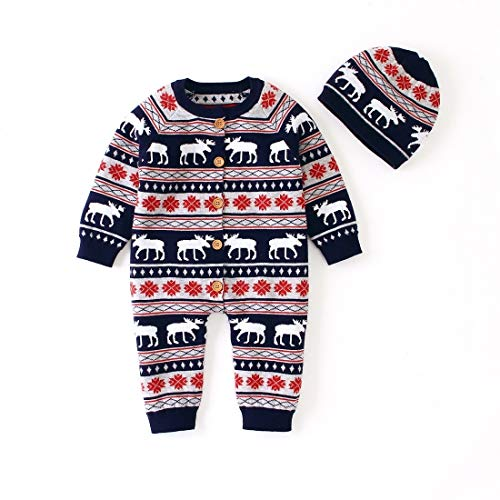 Clothing & Beauty Christmas Deer Christmas Hat Autumn and Winter Baby Siamese Suit (Color:Dark Blue Size:70cm) Clothing & Beauty (Color : Dark Blue)