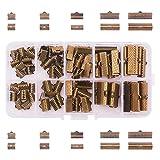 PandaHall Elite 1 Caja Mezclada Plancha Extremos de la Cinta Sets, Bronce Antiguo, 8~25x6~8x5mm