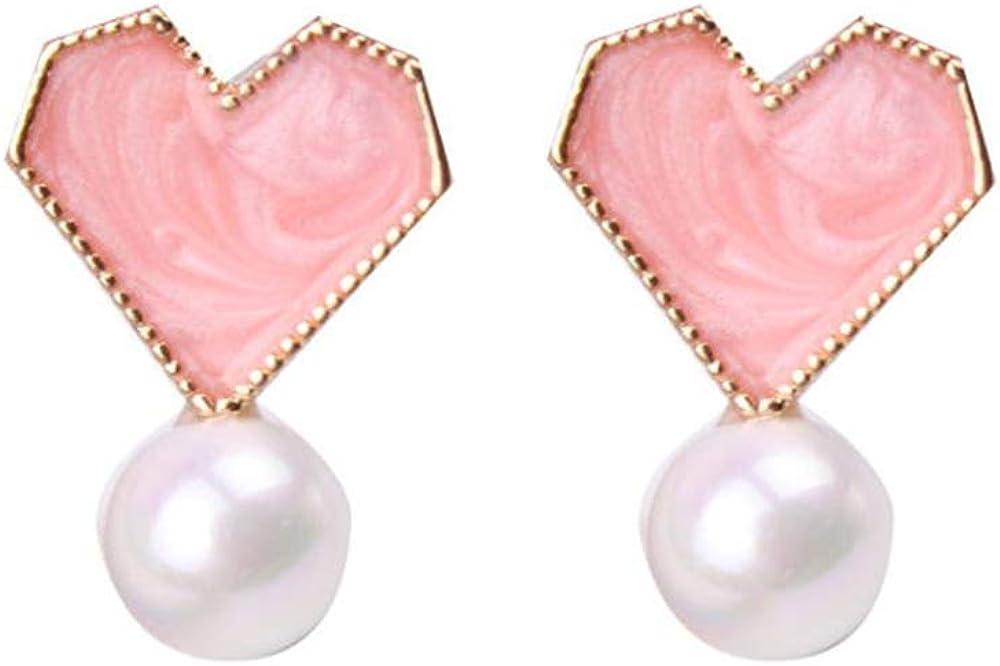 HAPPYAN Fashion Clip On Earrings for Women Charm Enamel Heart Bowknot No Pierced Earrings