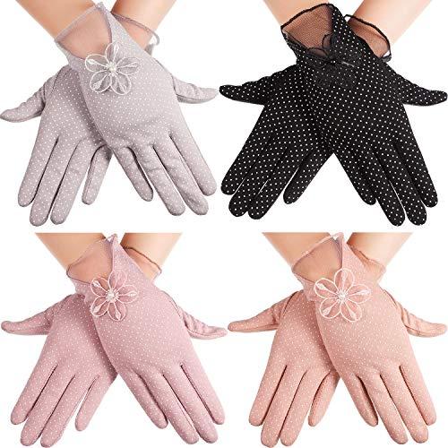 4 Paar Sonnenschutz Handschuhe Rutschfeste Sommer Handschuhe Baumwolle Fahrhandschuhe für Frauen, 4 Farben