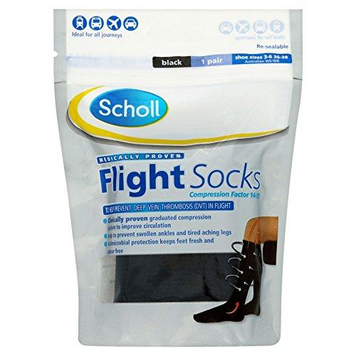 3 x Scholl Flight Socks Black 1 Pair Shoe Sizes 3-6