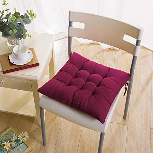 N / A 2 Rooms From Solid Color Square Cushion Chair, Sustainable Reversible Thicken Soft Garden Patio Cushion Seat, Chair in Eating with Ties Brown 40x40cm (16x16inch),Violet 2,40x40cm (.