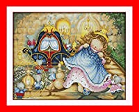 DIY クロスステッチキット、手作り刺繍キット 、図柄印刷 初心者 ホーム装飾 、壁の装飾 、クリスマス プレゼント,かわいいお姫様 40x50cm