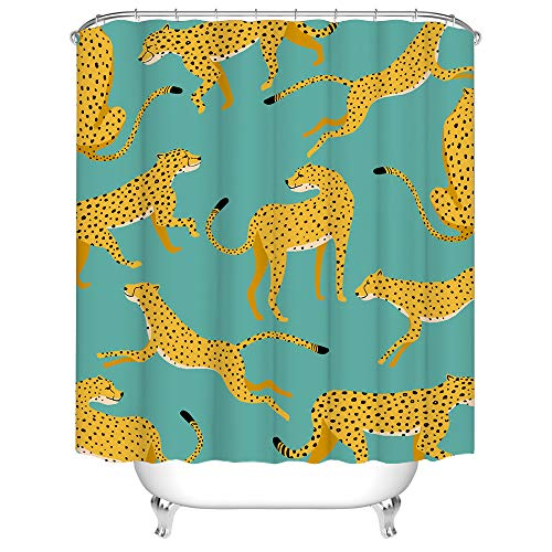 Dschungeltier-Duschvorhang, Stoff, hellgelb, Jaguar-Leopardenmuster, für Badezimmer, Dekoration, mit Haken, 183 x 183 cm, Blaugrün