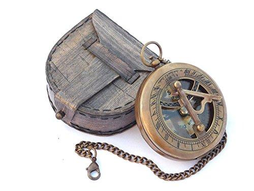 Vintage Kompass Sonnenuhr Antik massiv Messing compass sundial gift compass in einer box compass outdoor navigational Kompass mit Leder Fall Metall bronze