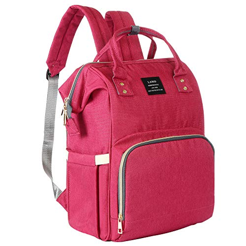 inxxmix Diaper Bag Versatility Waterproof Travel Baby Backpack Bags for Baby Girls Mom Dad Student, Wide Open Design, Large Capacity, Stylish Soho Collection and Durability Maternity Bag (Rose)