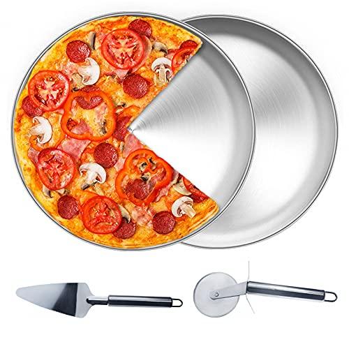 GZhaizhuan - Bandeja redonda para pizza de 30 cm, de acero inoxidable, para hornear en el horno, con cuchillo de pizza y pala para pizza (plateada)