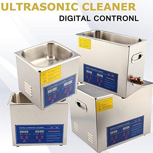 Limpiador industrial ultrasónico de acero inoxidable con temporizador y pantalla digital, dispositivo profesional con calentamiento 6l