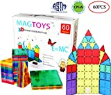 DreambuilderToy 60 Pieces Magnetic Tiles Clear 3D Building Blocks with 4 Large Playboards, STEM Magnetic Tiles Set