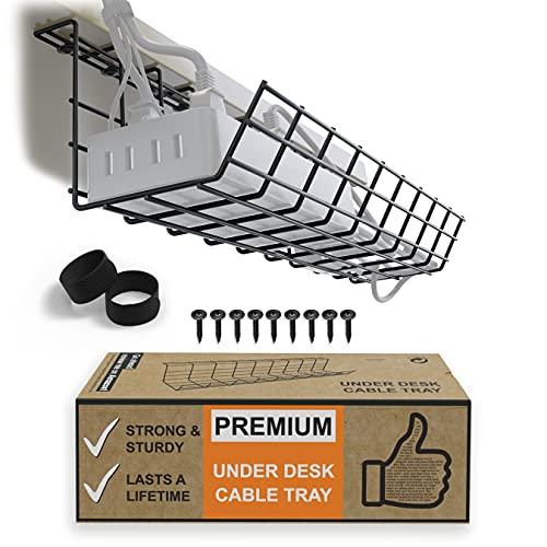 Korg Under Bordet för Kabelhantering - Kabelarrangör för Kabelhantering. Kabelgömma av Metall till Kontor och Hem. Perfekt Kabelränna för Justerbara Skrivbord (Svart Sladdbox - Enkel 43cm)