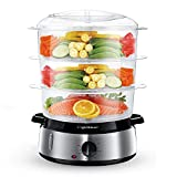 Aigostar Electric Food Steamer, 800W, 3-Tier 9L Capacity, 60-Minute Timer, Brushed Stainless Steel, Stackable Baskets, BPA Free - Fitfoodie 30KHM.