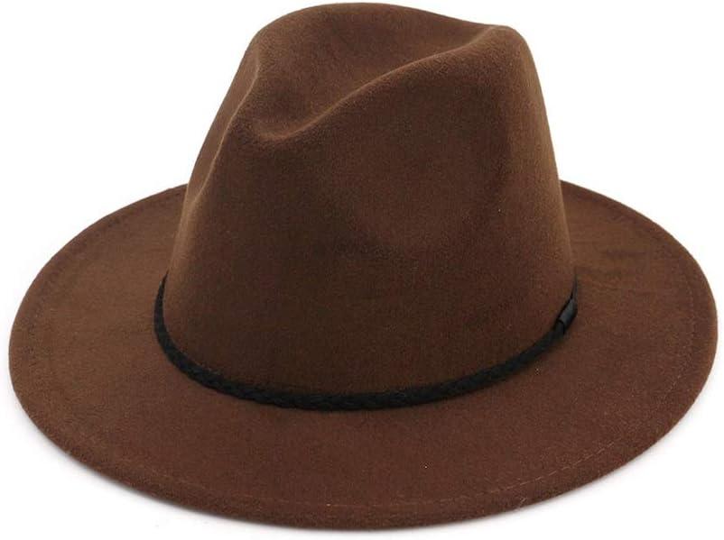 ZLQQLZ Women Cap Women Men Wool Fedora Hat with Cloche Ribbon Gentleman Elegant Lady Winter Autumn Wide Brim Jazz Hat (Color : Drak Coffee, Size : 56-58)
