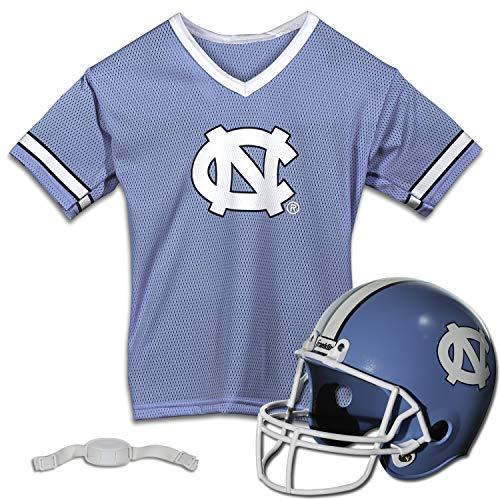 Franklin Sports UNC Tar Heels - Kids College Football Uniform Set - NCAA Youth Football Uniform Costume - Helmet, Jersey, Chinstrap Set - Youth M