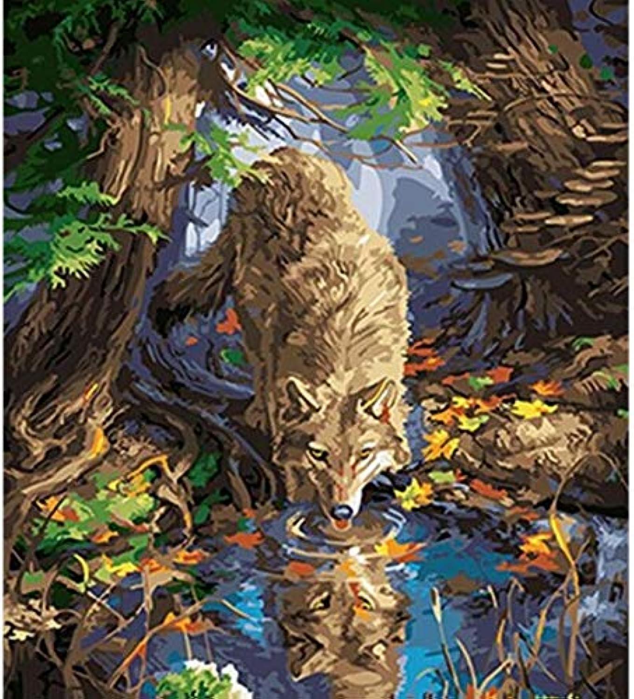 Superlucky Wolf DIY Painting by Numbers Painting&Calligraphy Acrylic Acrylic Acrylic Painting Wall Art Home Decor for Living Room 40x50cm Mit Rahmen B07JC183RQ | Angemessene Lieferung und pünktliche Lieferung  24ed05
