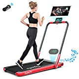 Safeplus Foldable-Treadmill,2 in 1 2.25HP Under Desk Folding Electric Threadmill with Installation-Free,Remote Control,Bluetooth Speaker and LED Display,Walking Jogging Machine for Home Office Use