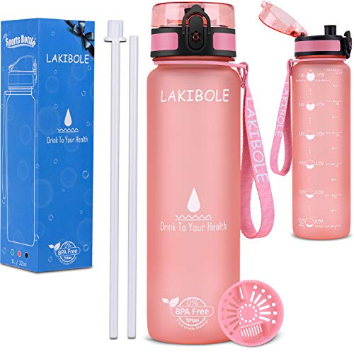 LAKIBOLE 32 oz Straw Water Bottle BPA Free with Time Marker, Gym Water Bottle with Straw for Fitness, Outdoor Enthusiasts, Leakproof & Durable - Pink