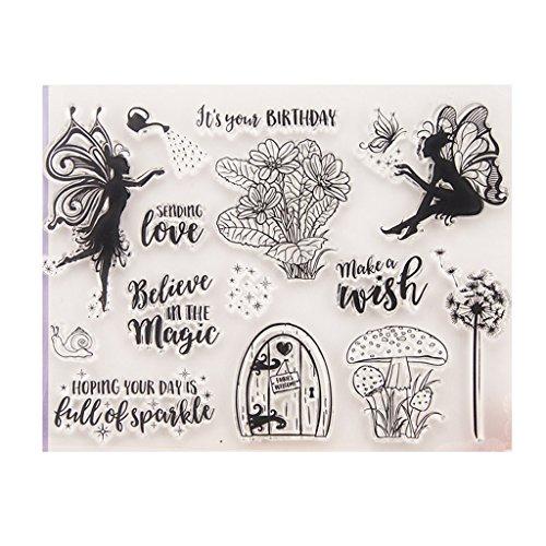 Cuigu Silikon-Tempel selbstklebend Clear Stamps Modell Natur Schmetterling Elfen Blumen Prägung Modell DIY Handwerk Scrapbooking Fotoalbum Dekoration