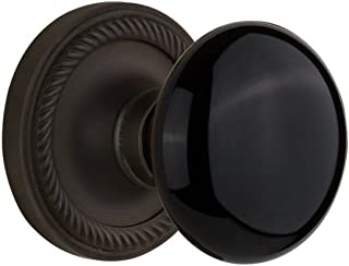 "Nostalgic Warehouse Rope Rosette with Black Porcelain Knob, Passage - 2.75"", Oil-Rubbed Bronze"