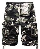 chouyatou Men's Active Normal Waist Loose Multi-Pocket Versatile Twill Cargo Shorts (38, Camo-Grey)