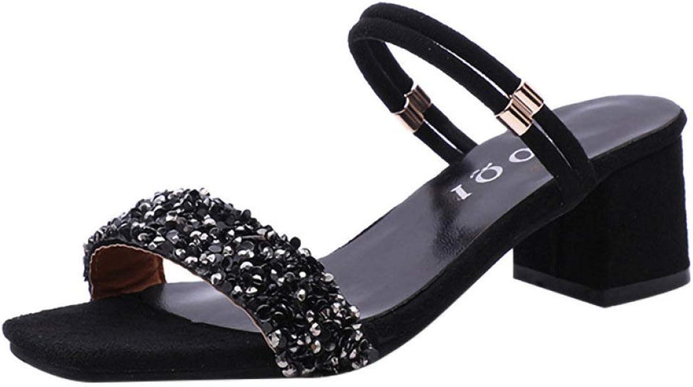 JOYBI Women Open Toe Slippers Sandals Non Slip Rhinestone Sequins Thick Block Chunky Heels Slides Dress shoes