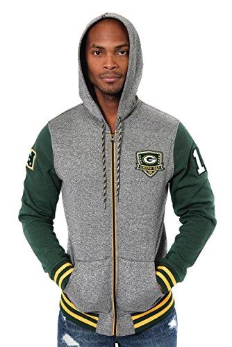 Ultra Game NFL Green Bay Packers Mens Full Zip Soft Fleece Hoodie Letterman Varsity Jacket, Team Color, X-Large