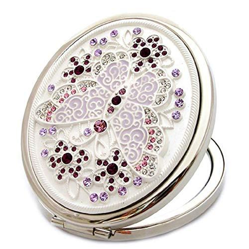 QXHELI vlinder strass beschilderde spiegel opvouwbare kleine zakspiegel dubbelzijdige metalen beauty spiegel draagbare gift spiegel kledingkast welkom (maat: