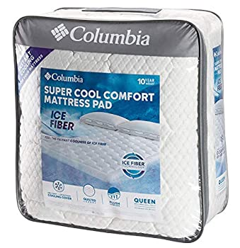 """Columbia Sportswear Company Quilted Ice Fiber Cooling Mattress Pad – Deep Pocket Fitted Sheet Cover Stretches to fit 16""""-18"""" Deep – Breathable & Hypo-allergenic Plush Bed Topper Protector- Full Size"""