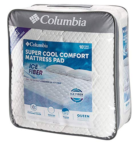 "Columbia Sportswear Company Quilted Ice Fiber Cooling Mattress Pad – Deep Pocket Fitted Sheet Cover Stretches to fit 16""-18"" Deep – Breathable & Hypo-allergenic Plush Bed Topper Protector- Queen Size"