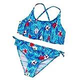 WOYAOFEI Bikini-Anzug mit Batikdruck für Mädchen und Kinder-Badeanzug mit Rüschen und Rüschen, tie-dye Printed Bikini Suit with Ruffled Frills Children's Split Swimsuit